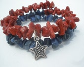 Red and Blue Wrap Bracelet