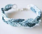 Blue Braided Bracelet - Light Blue Dark Blue Gift For Her Fashion December Trends