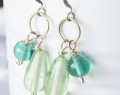 Turquoise and Green Glass Bead Earrings
