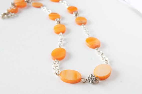 Orange Mother of Pearl Long Necklace