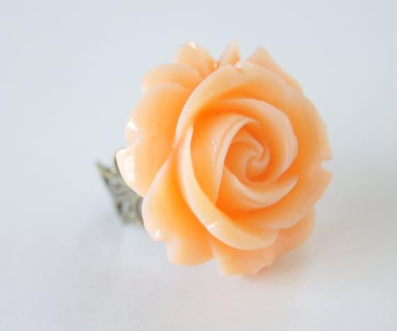 Peach Resin Rose Flower Vintage Bronze Ring, Vintage Inspired Adjustable Ring, Bridesmaids, Spring Fashion, Wedding, Bridal Jewelry