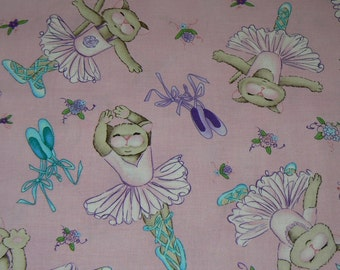 Michael Miller Kitty Ballerina Cotton Fabric - 1 Yard