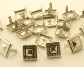 100 pcs.Silver Tone Square Studs Punk Rock Decorations Finding 10 mm.