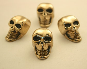 2 pcs. Gold Skull Head Shank Buttons Leather Craft  Decoration Findings. HOG4