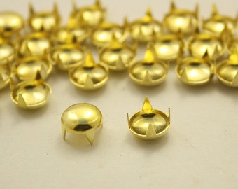 100 pcs.Gold Round Studs Punk Rock Decorations Findings 8 mm. KRG8