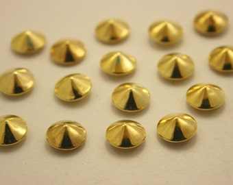 100 pcs.Gold Cone Rivets Rapid Stud Decorations Findings 10 mm. CO G10 RV 1