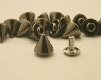 15 pcs. Gunmetal Cone SPIKES RIVETS Studs Leather Craft Decorations Findings 8 mm. CHR3