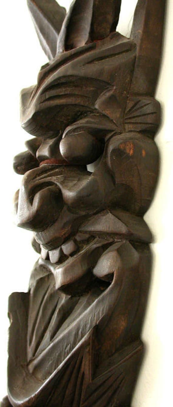 Reduced 29 Smiling Devil Demon Faces Asian Wood Carving