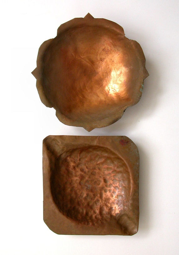 Vintage Copper Dishes or Ashtrays Summer-Camp Project