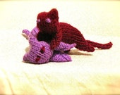 Lilac and Purple Knitted Cats Ready to Ship