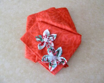Red Bandana Cotton Head Scarf with Flowers