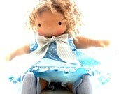 Miss Zoe - 13 inch light brown Waldorf doll in blue polka dots