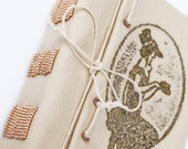 Handbound leather Journal Diary, beige stamped leather, golden beads spine