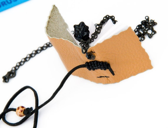 Mini Book Necklace, beaded sandy beige leather,  tiny black beads, handmade jewelry