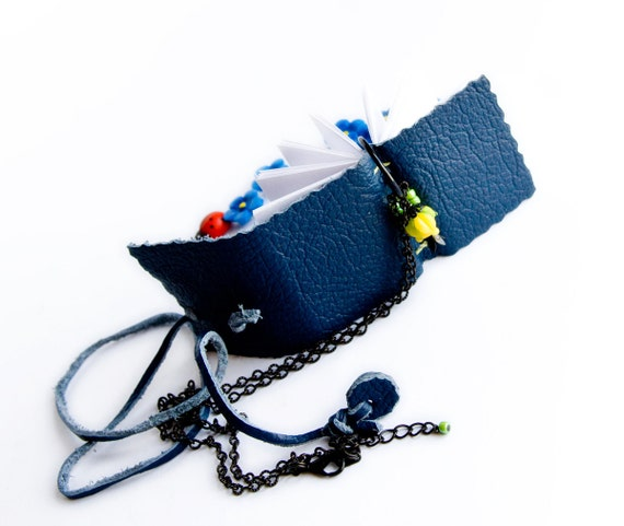 Mini Book Necklace, dark blue beaded leather journal adornments, spring flower