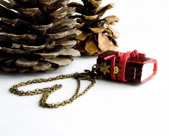 Dark red leather book necklace, heart, mini sketchbook pendant jewel