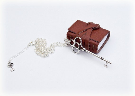 SALE Mini Book Necklace, big key, brown leather journal.
