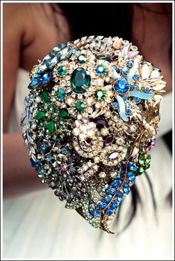 Brooch bouquet - Jewel Brights vintage jewellery bridal bouquet