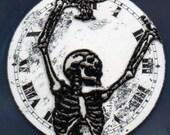 Skeleton watch face brooch