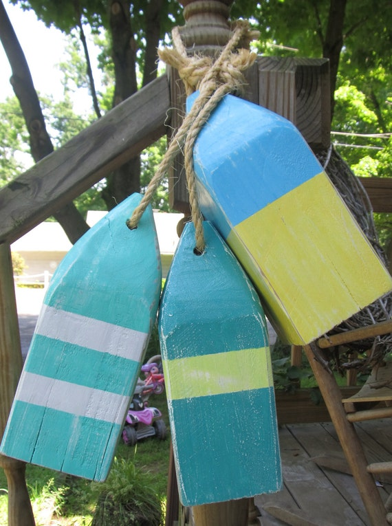Set of 3 Wooden Buoys 10 inch reclaimed wood. Beach decor. Coastal Decor. made to order