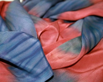 Shibori Silk Scarf, red and blue with bits of green