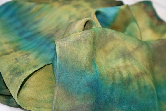Shibori Silk Scarf, olive and turquoise