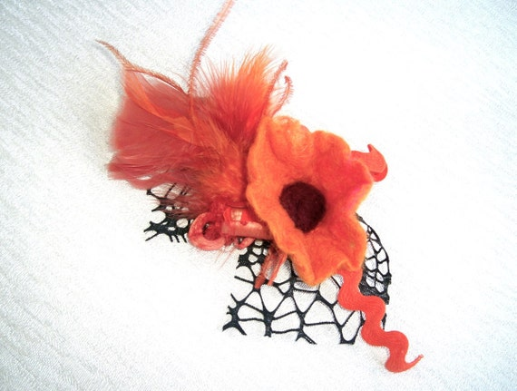 Lovely brooch with felt flower, feathers and lace, orange and black