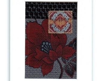 Mini Fabric Collage Red Floral Indigo Blue Asian Kimono Textile Art
