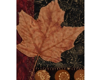Autumn Maple Leaf Mini Fabric Collage Crazy Quilt Style Ready to Frame