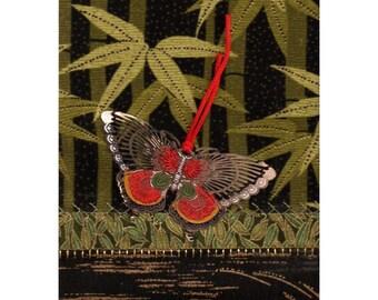 Bamboo Grove Cloisonne Butterfly Mini Asian Textile Art Crazy Quilt