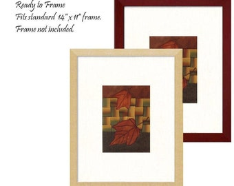 Mini Quilt Art Collage Autumn Red Maple Leaves Appliqué Woven Ombre Silk Ribbon Opt Frame