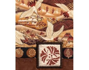 Mini Quilt Collage Ginkgo Leaf Cranes Autumn Landscape Asian Style
