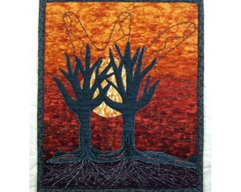 Small Art Quilt Wall Hanging Applique Tree Hand Silhouette Gold Ombre Sun