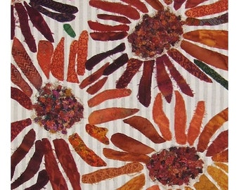 Floral Appliqué Collage Art Quilt Wall Hanging Garden Marigold Chrysanthemum