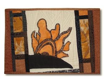 Art Quilt Collage Wall Hanging Abstract Sun Desert Landscape Window