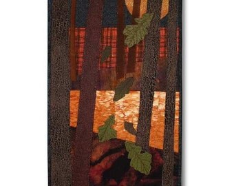 Art Quilt Autumn Wall Hanging Oak Leaf Forest Sunset Reflection