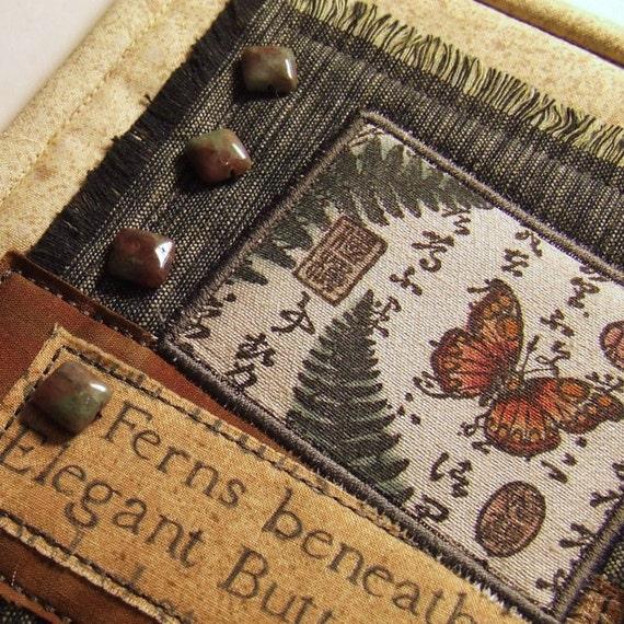 Butterfly Ferns Nature Journal Page Asian Kanji Script Miniature Quilt Art Gemstone Collage