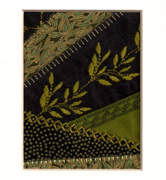 Crazy Quilt Mini Patchwork Block Green Leaves Climbing Vine Ready 2 Frame