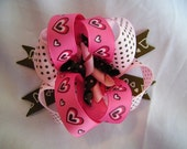 Brown and Pink Hearts Hair Bow