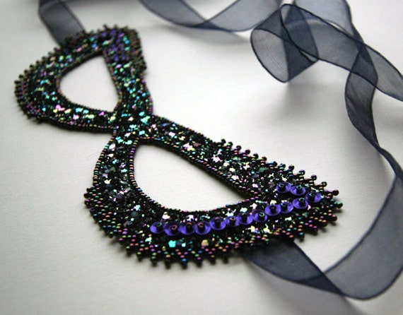 30 % off - Beaded and Sequined Glitter Mask - Ready to Ship