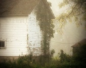 White Barn Photograph, Rustic White Barn, Cottage Barn Decor, Country Landscape, Simple Country Life Print, White Barn in Fog 8x10