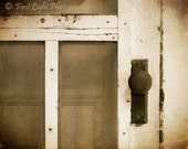 Old Door Photo - White, Vintage, Sepia, Black and White, Summer, Porch - Screen Door