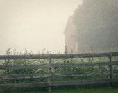 Country Farm Photograph barn fence fog morning