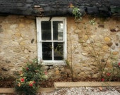 Old Stone Building Photograph - antique, window, brown, aged, worn, 8x10