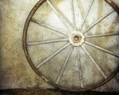 Rustic Barn Photograph - silo, wagon wheel, peaceful, 8x10
