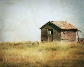 Old Barn Photograph, Rustic Home Decor, Country Landscape Print, Rustic Barn Photo, Old Building on Prairie, Abandoned Shack, Farmhouse 8x10