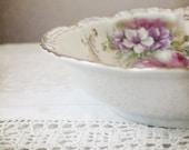Antique Vintage Dish Serving Bowl Photo - flowers pink white lace