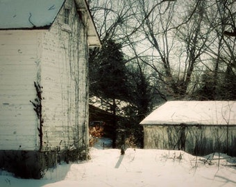 Winter Barn Photograph - farm, country, rustic, snow white landscape country simple life
