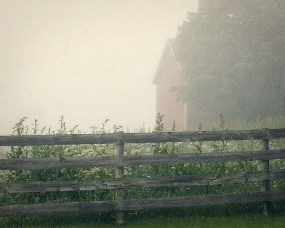 Morning Fog Photograph, Country Farm Print, Barn in Fog Print, Country Fence, Corn Stalks, Red Barn