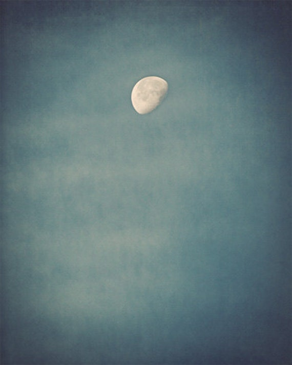Moon Photograph - sky, night, summer, phase, blue, dark, teal, aqua - Rise of the Moon silk road inspiration
